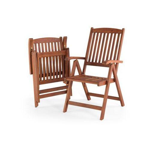 Drewniane krzesło ogrodowe - regulowane oparcie - toscana marki Beliani