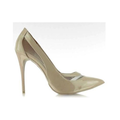 Czółenka na szpilce z siateczką e422 beżowe marki Buty obuwie damskie