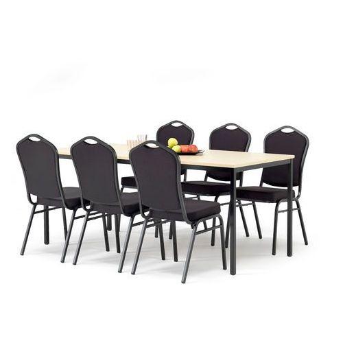 Aj produkty Zestaw mebli do stołówki, stół 1800x800 mm, brzoza + 6 krzeseł, czarny/czarny