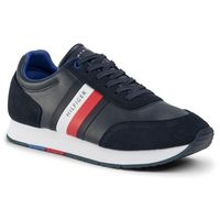 Sneakersy TOMMY HILFIGER - Corporate Leather Flag Runner FM0FM02602 Desert Sky DW5, kolor niebieski
