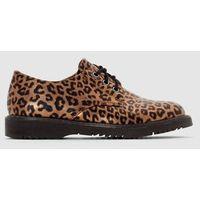 Półbuty derbies z nadrukiem imitującym skórę leoparda