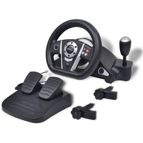 Vidaxl kierownica do gier wyścigowych ps2/ps3/pc, czarna (8718475937050)