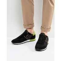 suede and leather trainers black - black, Boss