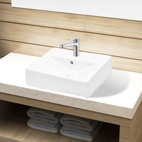 vidaXL Ceramiczna umywalka z otworem na kran oraz przelewem prostokątna