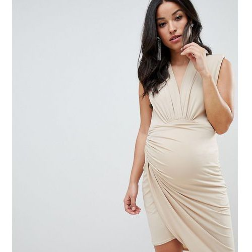 Queen Bee sleeveless wrap front mini dress in nude - Pink