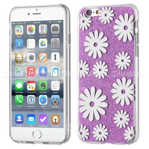 żelowy pokrowiec shiny case brokat iphone se 5s 5 kwiaty fioletowy - fioletowy od producenta Wozinsky