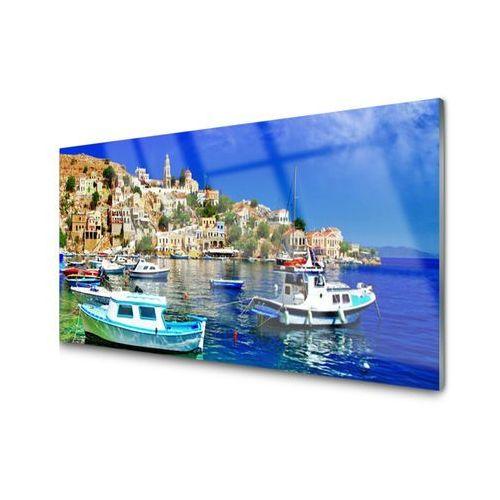 Obraz akrylowy łódki miasto morze krajobraz marki Tulup.pl