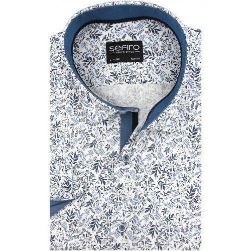 Lniana Koszula Męska Sefiro biała w niebieskie listki SLIM FIT na krótki rękaw K914