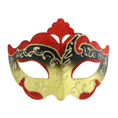 Maska karnawałowa, czerwono-złota, orientalna marki Godan