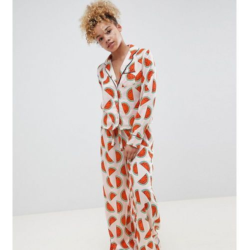 Asos design petite watermelon traditional 100% modal long leg pyjama set - multi marki Asos petite