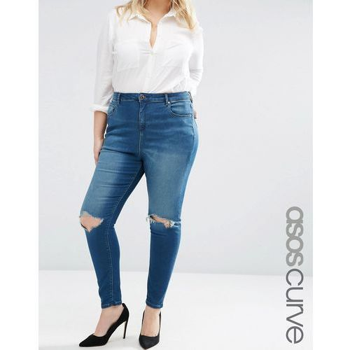 high waist ridley skinny jeans in mahogony dark wash with rip - blue marki Asos curve