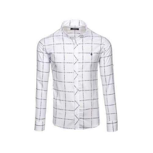 Madmext Koszula męska w kratę z długim rękawem biała denley 0280