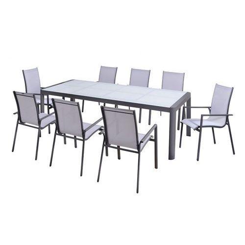 Zestaw ogrodowy z aluminium SAMAXI - rozkładany stół 180/240cm i 8 foteli - Siedzisko w kolorze białym