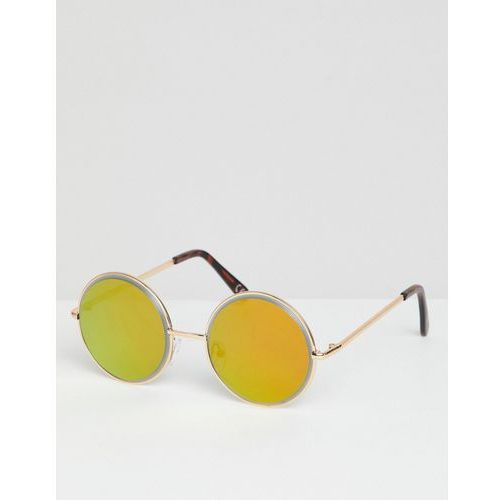 round sunglasses in gold with gold bezelled mirrored lens - gold marki Asos design