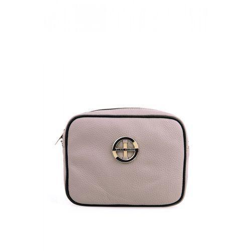 Beżowa torebka z czarną lamówką - marki Sagan