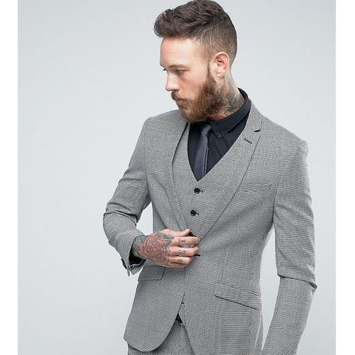super skinny suit jacket in dogstooth tweed - grey marki Heart & dagger