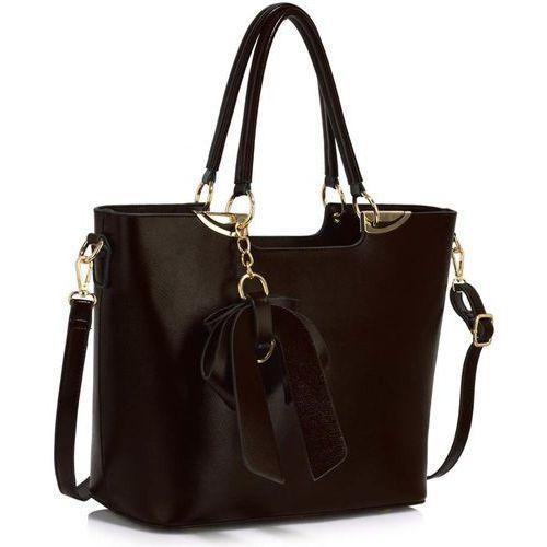 Wielka brytania Czekoladowa torebka damska z brelokiem kokardą - brązowy
