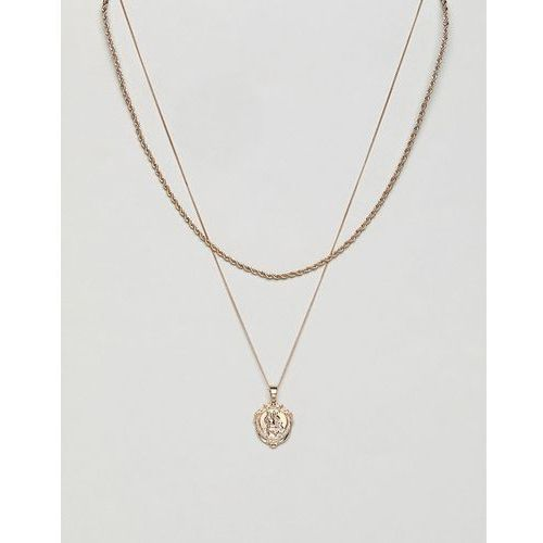 st christopher micro detail medallion layer necklace in gold - gold marki Chained & able