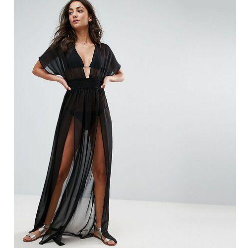 ASOS DESIGN Tall shirred waist maxi chiffon beach kaftan - Black, kolor czarny