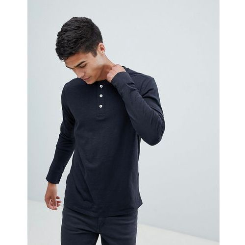 Selected Homme Long Sleeve T-Shirt With Henley Neck - Black