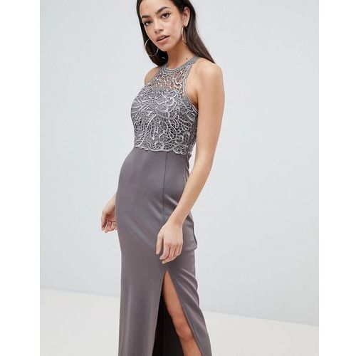 lace upper maxi dress with side slit - grey marki Ax paris