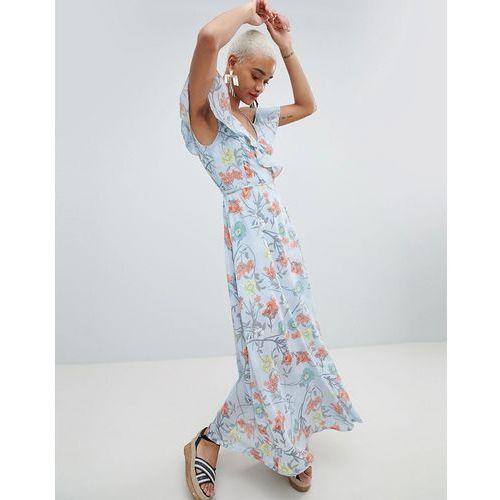 floral wrap maxi dress - blue, Prettylittlething