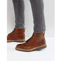 River island leather worker boots in dark brown - tan