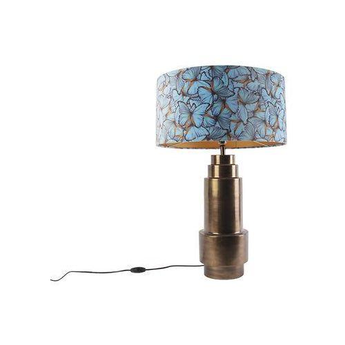Lampa stołowa z brązu z welurowym kloszem motylkowym 50 cm - Bruut