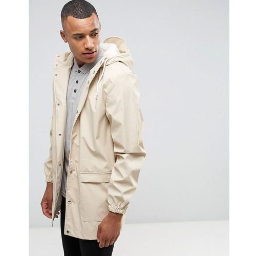 D-Struct Mid Length Water-Resistant Jacket with Hood - Beige