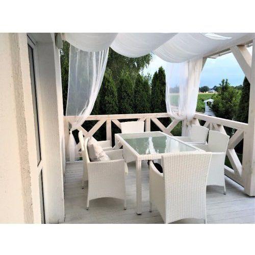 Komplet stołowy z białego technorattanu capitale marki Bello giardino