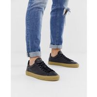 leather trainers with chunky grain sole in black - black, Selected homme