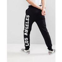 ASOS Skinny Joggers With Los Angeles Print - Black, kolor czarny