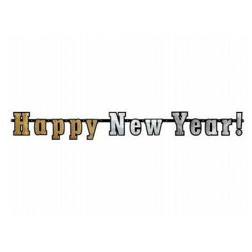 Baner holograficzny happy new year - 142 cm - 1 szt. marki Party deco