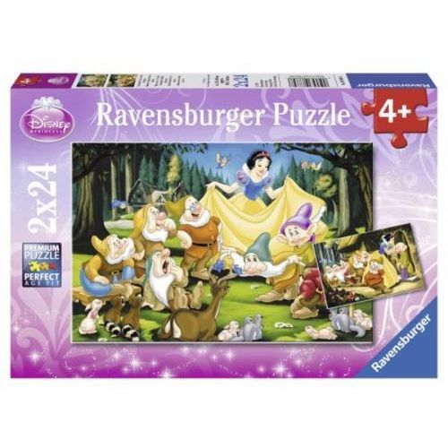 Puzzle królewna śnieżka i krasnoludki 2x24 marki Ravensburger