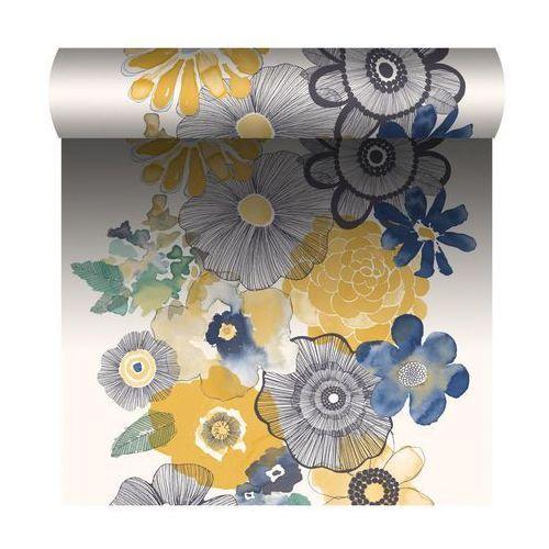Grandeco Tapeta w kwiaty village people żółto-niebieska winylowa na flizelinie