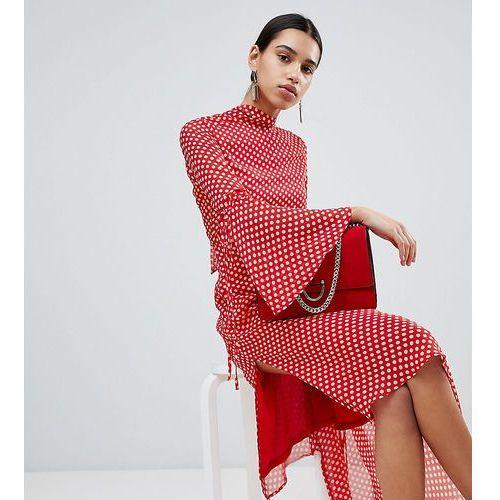 high neck polka dot asymmetric hem dress - red, Boohoo