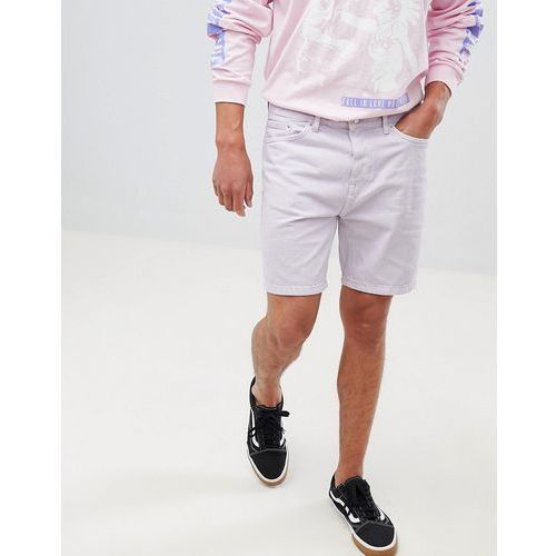 slim fit denim shorts in lilac - purple, Bershka