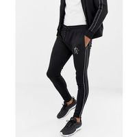 Gym king skinny joggers in black with side stripes - black