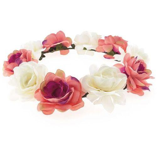 Iloko Wianek opaska duże kwiaty róż i brzoskwinia - róż i brzoskwinia