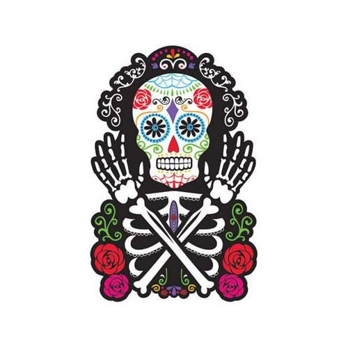 Dekoracja dwustronna Meksykańska Czacha na Halloween - 1 szt.