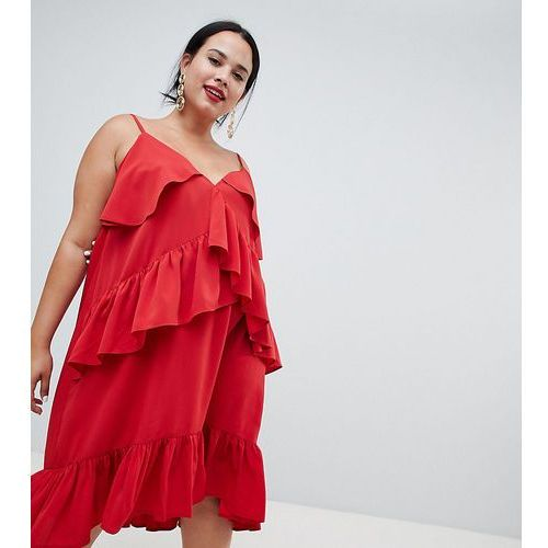 Asos curve Asos design curve strappy midi dress with ruffle detail - red