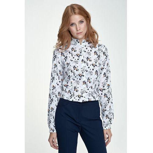Bluzka ze stójką - kwiaty/ecru - b72 marki Nife
