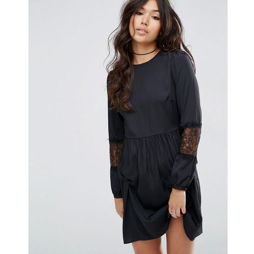 long sleeve mini dress with lace insert - black marki Asos