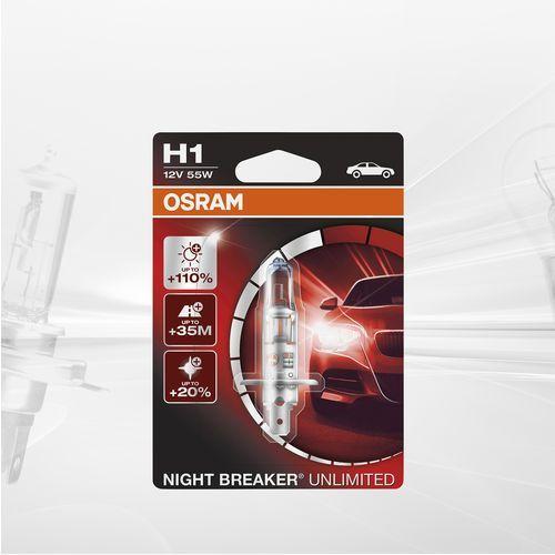 Osram night breaker unlimited h1, 64150nbu-hcb, 12 v, twarda osłona – podwójne opakowanie, biały (4052899016286)