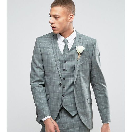 Heart & dagger slim suit jacket in summer wedding check - green