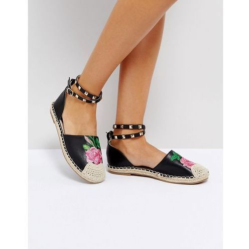 embriodered stud ankle espadrille - black, Truffle collection