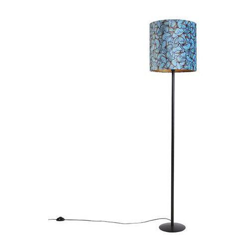 Czarna lampa podłogowa z welurowymi motylkami w kolorze złotym 40 cm - simplo marki Qazqa