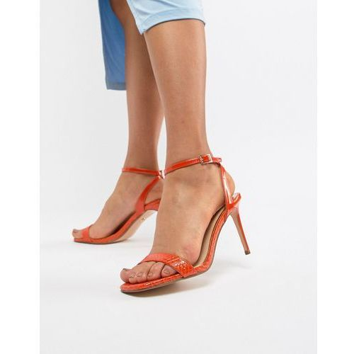 barely there heeled sandals in orange snake effect - orange marki River island
