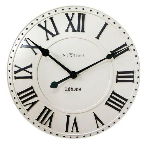 Nextime - zegar ścienny london roman - kremowy