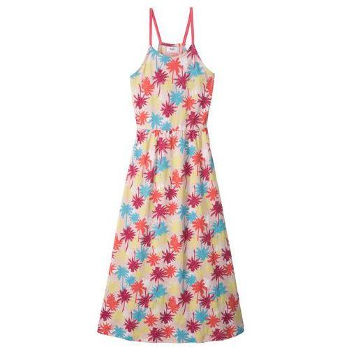 Bonprix Długa sukienka plażowa pudrowy jasnoróżowy z nadrukiem